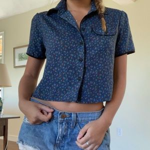 Silky floral button up top